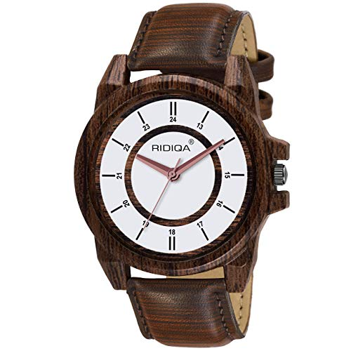 RIDIQA Wooden Traditional Analogue White Dial Watch for Men | BOY