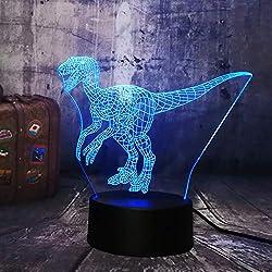 Luz De Noche 3D Jurassic World Dinosaur Velociraptor Clever Blue 3D Led luz de la noche lámpara de mesa de vacaciones 7 colores Boy Kid regalo de la fiesta de Navidad