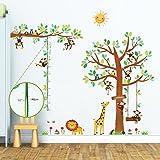 Decowall DM-1401P1402 Árbol de 8 Monitos y Gráfica de Altura Vinilo Pegatinas Decorativas Adhesiva Pared Dormitorio Salón Guardería Habitación Infantiles Niños Bebés