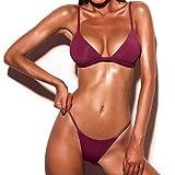Yanhoo Donne Push-up Reggiseno Imbottito Spiaggia Bikini Set Costume da Bagno, Halter Push Up Sportivi Sexy Bikini Costumi da Bagno Beachwear Due Pezzi (S, Vino Rosso)