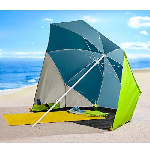 Unbekannt Sonnenschirm-Muschel, Sonnenschutz, Strandmuschel, Strandschirm, Picknickschirm, Taschenschirm, XXL-Sonnenschirm, Campingbedarf, UV 30+, Polyamid, Ø 200 cm
