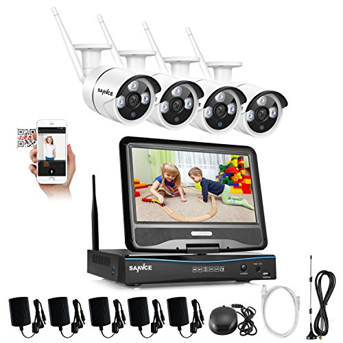 SANNCE KIT Wifi NVR 1080P 4 Canali 4 Wireless Telecamera 720P + 10,1' LCD Monitor IR Kit Sorveglianza H.264 IP66 Visione Notturna 30m Motion Detection Kit Wireless Antenna Wifi senza HDD