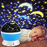 Proyector de Estrellas, innislink luz del proyector 360 Grados romántica Cosmos Luna de luz nocturna dormitorio para niños, bebés, regalos de la Navidad, los amantes lámpara de proyección, Azul