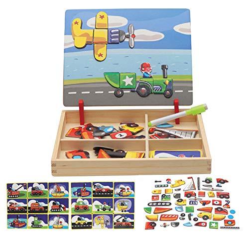 Local Makes A Comeback - Puzzle 3D in legno per bambini, con lavagna da disegno su entrambi i lati,...