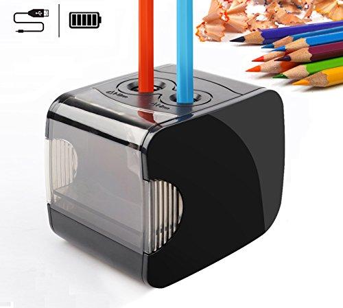 Elektrischer Anspitzer, Batterie und USB Betrieben, QHUI Schwerlastanspitzer mit 2 Löchern und Automatischer Funktion, Perfekt für Nr. 2 Stifte und Buntstifte für Den Gebrauch zu Hause oder Büro
