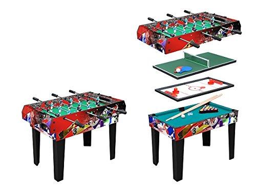 Tavolo Multigioco Moko - 4 Giochi in 1 - Bigliardo Hockey Ping pong Calciobalilla Aste Rientranti...