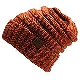 ShallGood 12 Couleurs Décontractée Femme Unisexe Homme Tricoté Laine Beanie Hiver Mode Féminine Hat Bonnets Chapeaux Tricotés Cap Casquette Orange One Size(21 * 21CM)