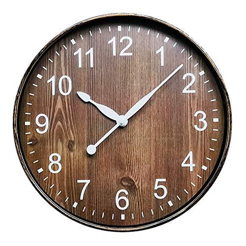 ufengke Orologio da Parete Venatura del Legno Vintage Orologio da Muro al Quarzo Silenzioso Marrone, Diametro 30 cm