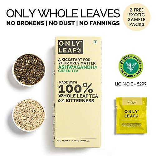 Onlyleaf Ashwagandha Green Tea, 27 Tea Bags (25 Tea Bags + 2 Free Exotic Samples)