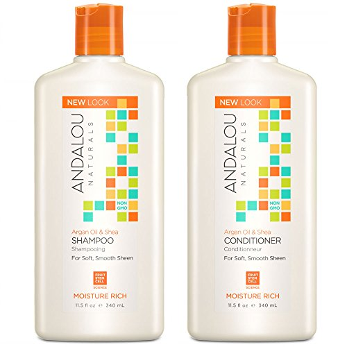 Andalou Naturals Argan Oil and Sweet Orange Natural Moisture Rich Organic Shampoo and Conditioner Bundle With Aloe Vera Extract, Jojoba Oil, and Argan Oil for Hair For Men and Women, 11.5 oz. each