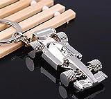 Kairos Silver Metallic Formula One Car Shape Keychain Key holder for Car/Bike