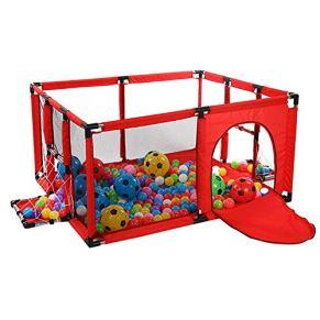 Parque de Juegos portátil, Patio de Juegos con Red de fútbol y Estera de Pelotas, Patio de Juegos de niños Cerca del Juego de Seguridad Apto para niños de 1-5 años (Color : Azul)