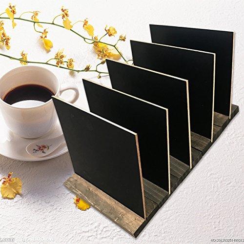 Lavagna da tavolo per pub, lavagnetta da tavolo, lavagna menu con base di supporto in legno, 5 pezzi