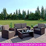 New Algarve Rattan Wicker Weave Garden Furniture Patio INCLUDES PROTECTIVE COVER Conservatory Sofa Set (Dark Brown with Dark Cushions)