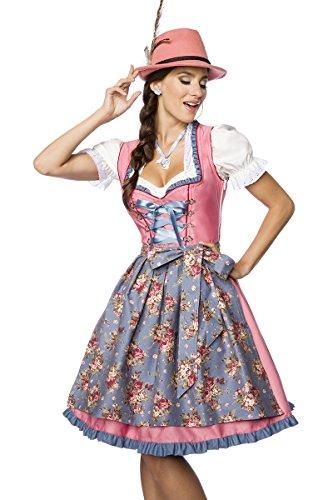 Luxus Designer Dirndl mit Schürze Kleid Dirndkleid Oktoberfest Tracht Trachtenkleid Spitze Denim Blumenprint Paspelierung Rüschen Rot Grün Rosa Blau XS - 3XL