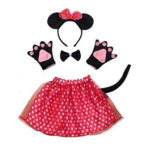 Lovelegis Disfraz de Minnie Mouse de Lot - para niñas - tutú - Diadema - Guantes - Pajarita - Cola - Disfraz Accesorios Halloween Cosplay Halloween - Color Rojo