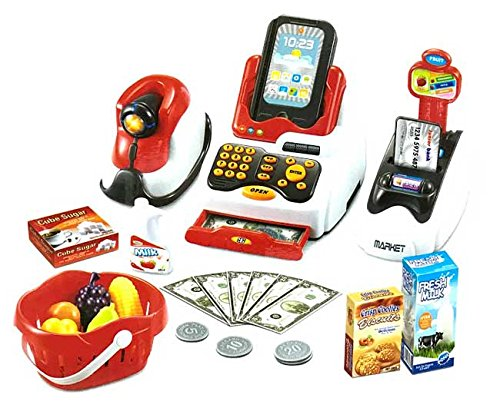Jilani Pretend Play Supermarket Checkout Toy with Lights Sounds Plastic Set for Kids, Multicolour