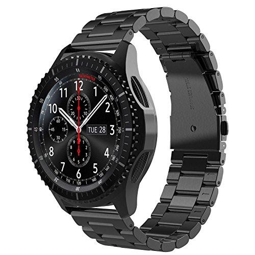 Simpeak Cinturino compatible per Samsung Gear S3, S3 Frontier/Classic/Galaxy Watch 46mm Galaxy Watch Active 40mm Banda in Acciaio Inossidabile,Fibbia di Metallo per Gear S3 /Galaxy 46/Active, Nero