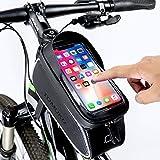 Tomuku Handytasche Fahrrad Handyhalterung Fahrrad Handyhalter Fahrradtasche Rahmentasche mit sensitivem Touch Screen Wasserdicht (passend bis zu 6,0 Zoll)
