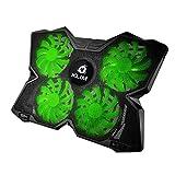 KLIM Wind Raffreddatore per PC Portatile - Ventola Pad - Il più Potente - Azione Rapida - 4 Ventole con Supporto per Gaming PC Cooling - Laptop Cooler - Verde - Nuova Versione 2019
