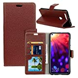 Qoosea Huawei Honor View 20 Funda Litchi Grain Funda Ultra Delgada Funda Protectora Elegante Cuero Magnético PU [Flip Stand Sleep Function] Case Cover Marrón