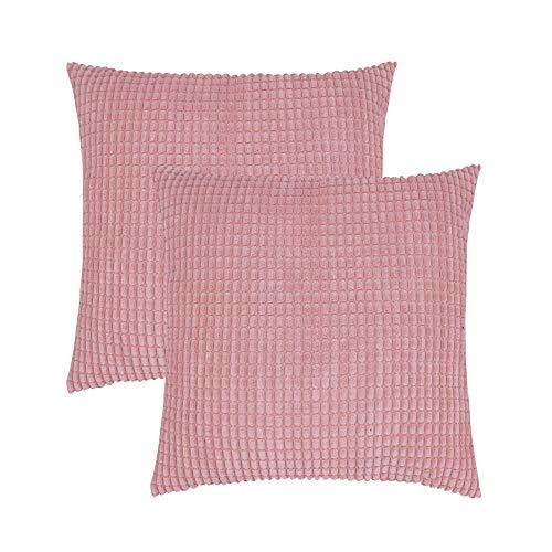 PAPER JAZZ - Copricuscino Decorativo in Morbido Velluto a Coste, per Divano, casa, Soggiorno, Set di 2, Bianco, 45 x 45 cm Pink,2pcs