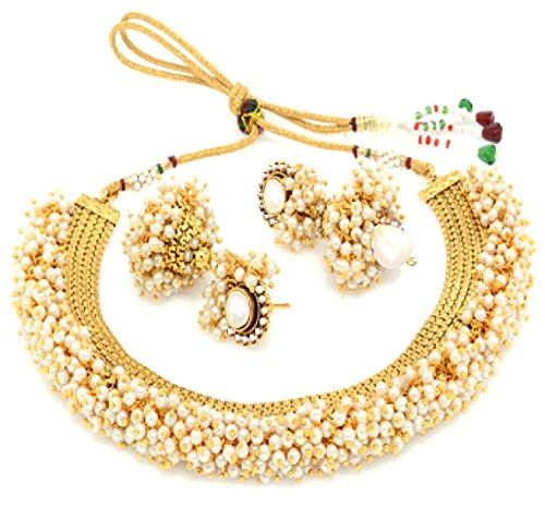 YouBella Exclusive Gold Plated Pearl Studded Traditional Temple Necklace Set / Jewellery Set with Earrings for Girls and Women
