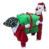 Tiaobug Santa Claus Kostüm Hundekostüm Hunde Bekleidung Samt Pullover Mantel Winter Weihnachtsmann Kostüm S M L XL XXL Rot&Grün M