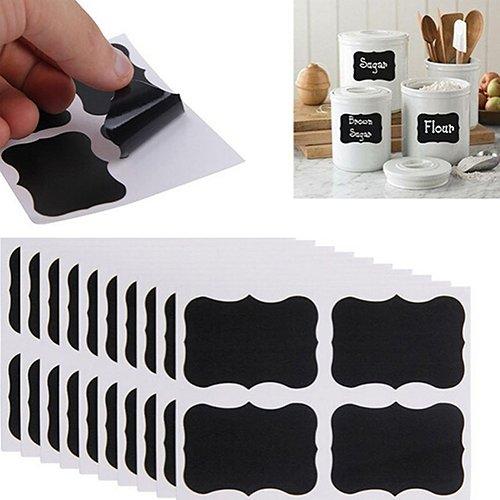 Gemini_Mall Kit di etichette a forma di lavagna, 36 adesivi perfetti per vasetti di marmellata,...