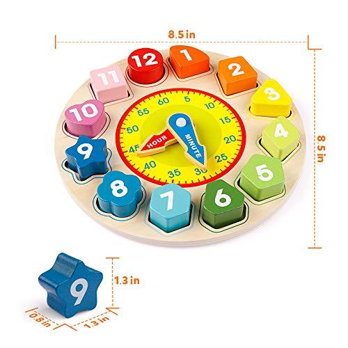 Coogam di Legno Forma Ordinamento Orologio - Insegnamento Tempo Numero Blocchi Puzzle  impilabile...