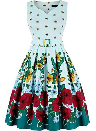 MERRYA 50s Floral Abeja Vestidos para Mujer Vintage Retro Rockabilly Clásico