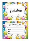Party-Biglietti di invito per feste, motivo: palloncini colorati, 24 x, soggetto cartolina A6, cartoline, adatti per ogni festa! With envelopes verde