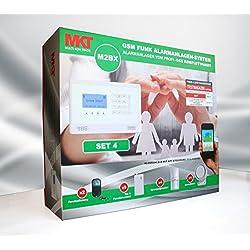Model M2BX GSM Funk Alarmanlage mit Touchpad Monitor + Alarm SMS Anruf * Service + Support + Garantie * 100 Zonen erweiterbar * Deutsche Anleitung * Set 4 mit 4 Bewegungsmelder + 9 Türkontakten
