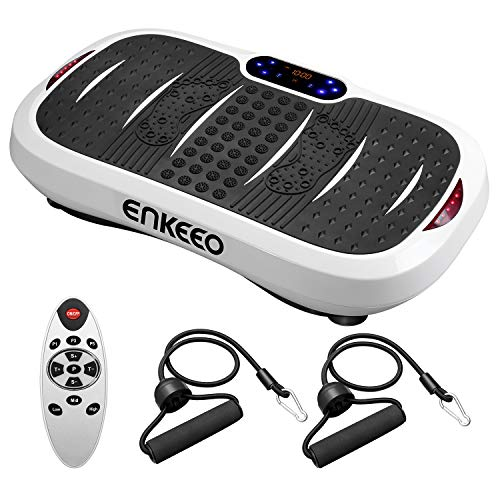ENKEEO Vibrationsplatte Profi Vibrationstrainer Ganzkörper Trainingsgerät mit Horizontale & vertikale Vibration, 5 Trainingsprogramme, 99 Intensitätsstufen für Fettabbau und Gewichtsreduzierung