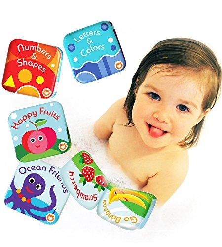 Confezione da 4 Libri Galleggianti per Bagnetto by Baby Bibi. Set Libri per Bambini 4 Temi: Frutti,...