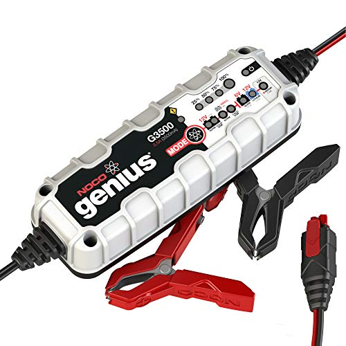 NOCO Genius G3500EU 6V / 12V 3.5 Amp UltraSafe Smart Battery Charger and Maintainer, Black, Gray, Red