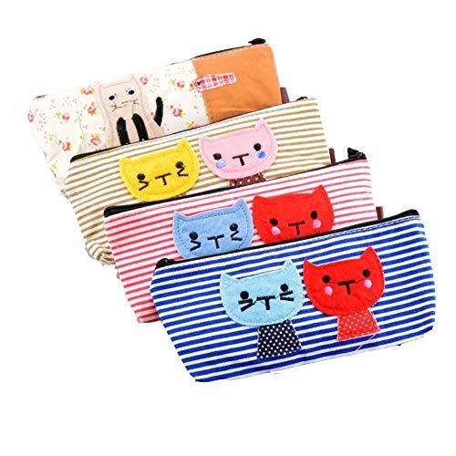 Yisily 4 pezzi penna matita cancelleria Bag borsa scatola di caso Carino disegno del gatto e di...