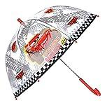 Disney Parapluie Canne McQueen | Rouge & Transparent Cars | Parapluie Enfant