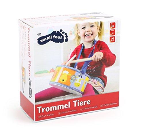 3315 Tamburino Animali small foot in legno, strumento musicale giocattolo per bambini con motivi di