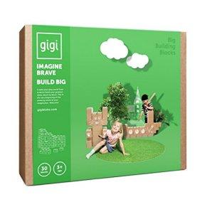 GIGI Bloks Bloques de Construcción Gigantes de Cartón Para Niños, Set de Bloques Infantiles de 30 Piezas XL Apilables, Juguetes Montessori de Ladrillos de Construcción Grandes de Tamaño Real