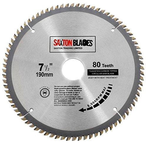 TCT19080T Saxton TCTT - Hoja de sierra circular de madera para Bosch Makita Dewalt (190 mm x 30 mm x 80 mm)