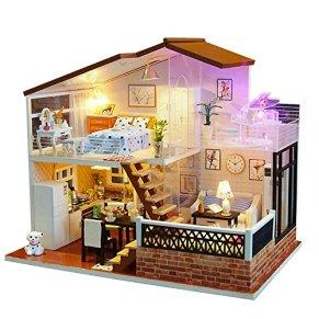 Joojun Casas de muñecas, Kit de Modelo de casa de Bricolaje, Villa de Dos Pisos Casa de muñecas en Miniatura para niños y Adultos Regalo de cumpleaños de Navidad