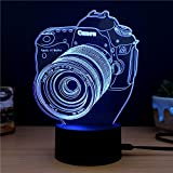 LED Night lights Creative 3D Optical Illusion Touch Desk Lamp 7 Colors USB Table Nightlight Art Sculpture Light Home Decoration (Camera)