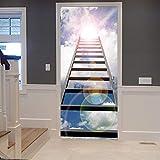 AFTUZC 3D Türaufkleber Selbstklebend,3D-Drucken Leiter, Personalityr Wall Sticker Wasserdicht Applique PVC Umweltfreundlich Für Schlafzimmer Wohnzimmer Store Tür Wandbild Einrichtung, 77 X 200 cm.