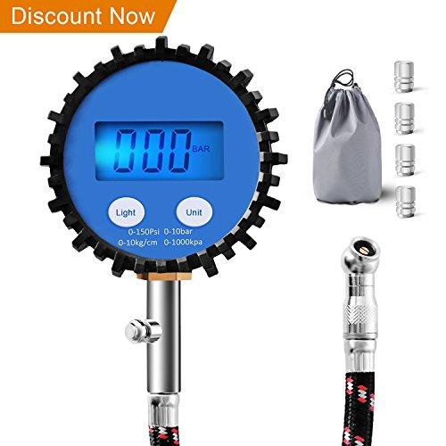 Manómetro de Neumáticos,Digital manometro presion neumaticos,Heavy Duty Manómetro de Neumáticos de Automóviles con Manguera Flexible, Todos los Accesorios de Vehículos para Resolución de pantalla 0.1 - 150PSI