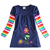 Vestido Floral Manga Larga Algodón Camisetas Vestidos Niñas Bebés 3-8 años