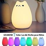Luz de Noche para Niños, SOLMORE LED 7 Color Luz de La Noche de Silicona con Forma de Gatito Luz de la Noche Cambio de Modo con Toque,Juguete y Guardia de la Noche de Niños USB Recargable