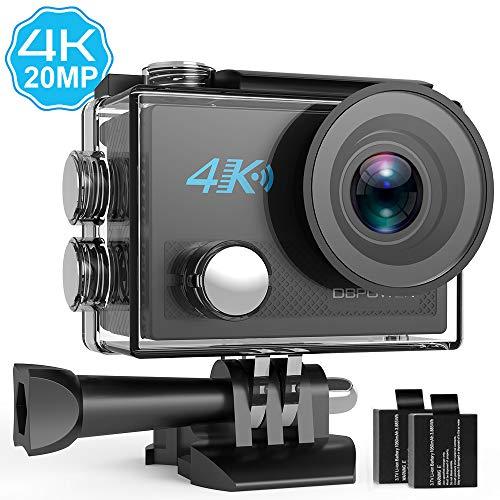 DBPOWER 4K Action Cam 20MP WiFi Sport Action Camera Ultra HD 170° Grandangolare,Telecamera Subacquea con 2 batterie e Accessori per Nuoto, Ciclismo e Altri Sport all'aperto