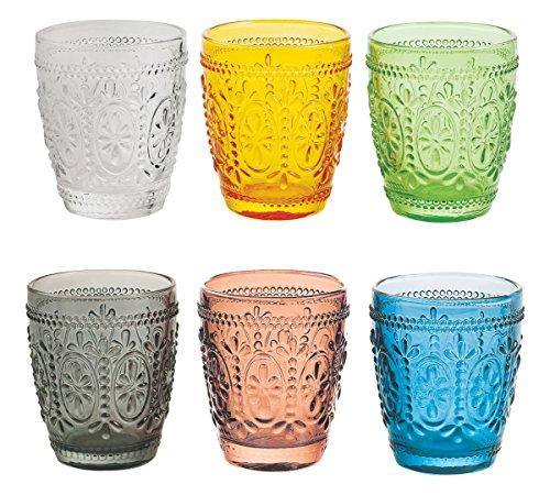 Villa d'Este Home Tivoli Imperial Set 6 Bicchieri d'Acqua, Vetro, Colori Assortiti