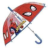 Parapluie Transparent Marvel Spiderman Enfant - Long Parapluie Rouge Cloche Spider Man - Léger Solide et Coupe Vent - Ouverture Automatique - Haute Qualité - Garçon 5/7 Ans - Diam 74 cm - Perletti